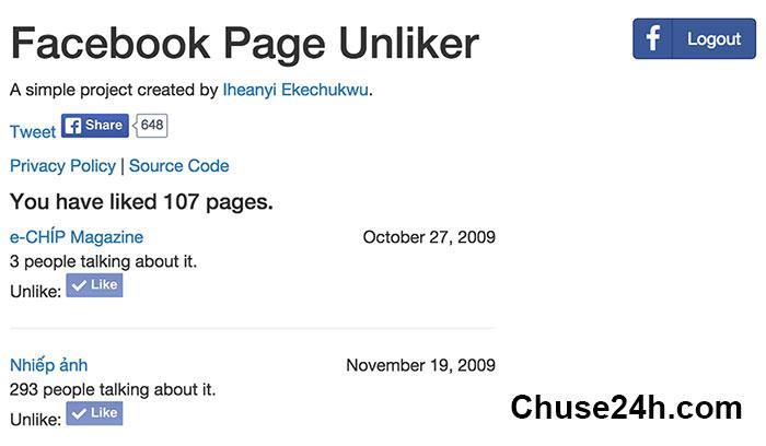 Unlike nhanh hàng loạt page Facebook với công cụ PageUnliker